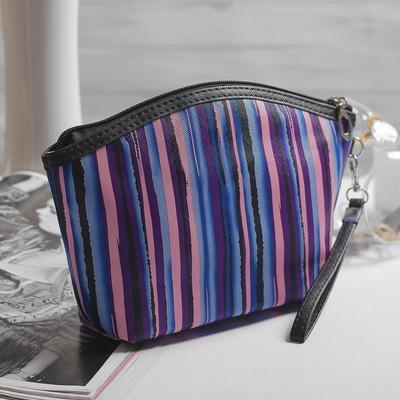 Косметичка-сумочка, отдел на молнии, с ручкой, цвет розовый/фиолетовый