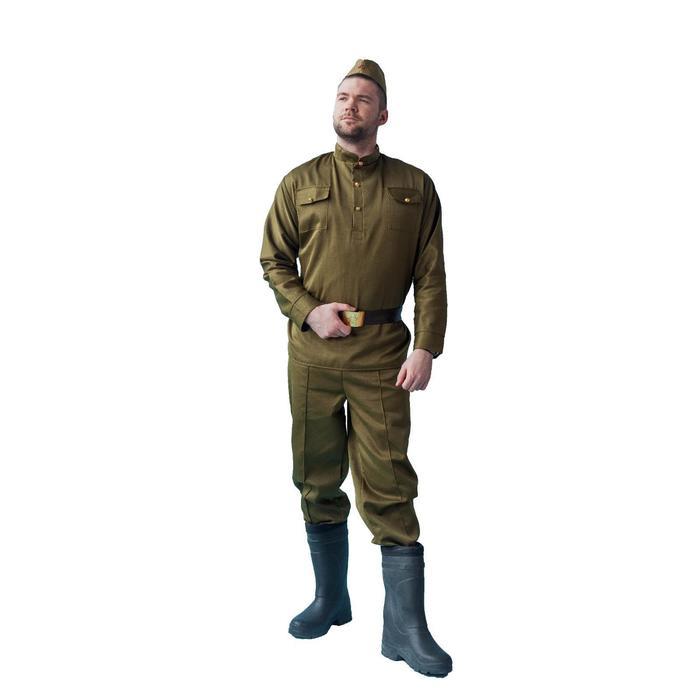 """Костюм военного """"Солдат люкс"""", пилотка, гимнастёрка, ремень, брюки, р-р 46-48, рост 170-180 см"""