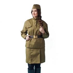Костюм военного «Солдаточка люкс», пилотка, гимнастёрка, юбка, ремень, р. 48-50, рост 170 см