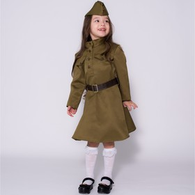 Carnival costume for girls, military dress, cap, belt, 8-10 years old, height 140-152 cm