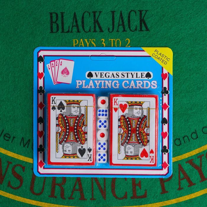 Набор для покера Poker playing cards: 2 колоды карт по 54 шт., 6 кубиков, в блистере