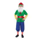 """Карнавальный костюм """"Гном зелёный"""", колпак, жакет, бриджи, борода, пояс, р. 30, рост 110-116 см"""
