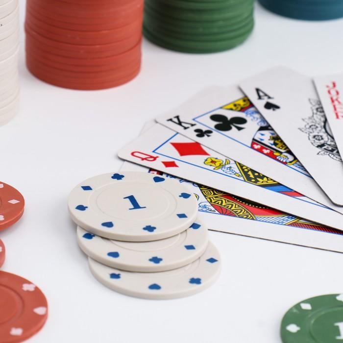 Набор для покера Poker Chips: 2 колоды карт по 54 шт., 100 фишек, сукно, в блистере
