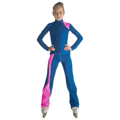 Брюки для фигурного катания Ноктюрн, цвет васильковый/розовый, размер 30-32