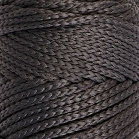 Шнур для вязания без сердечника 100% полиэфир, ширина 3мм 100м/210гр, (142 т. серый)