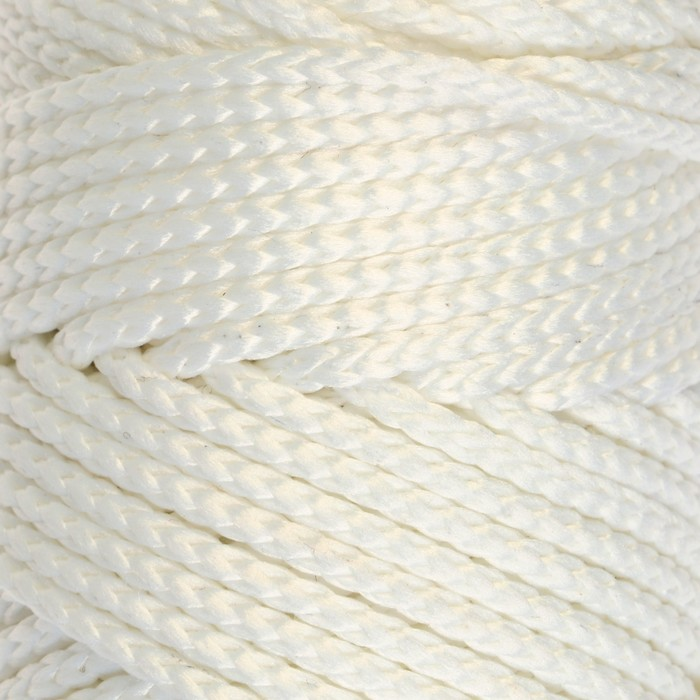Шнур для вязания без сердечника 100% полиэфир, ширина 3мм 100м/210гр, (171 белый)
