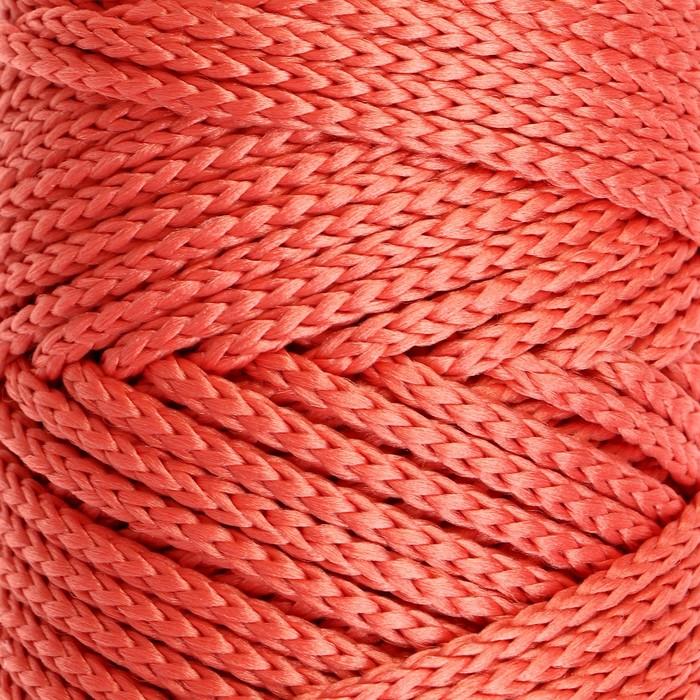 Шнур для вязания без сердечника 100% полиэфир, ширина 3мм 100м/210гр, (78 коралловый)