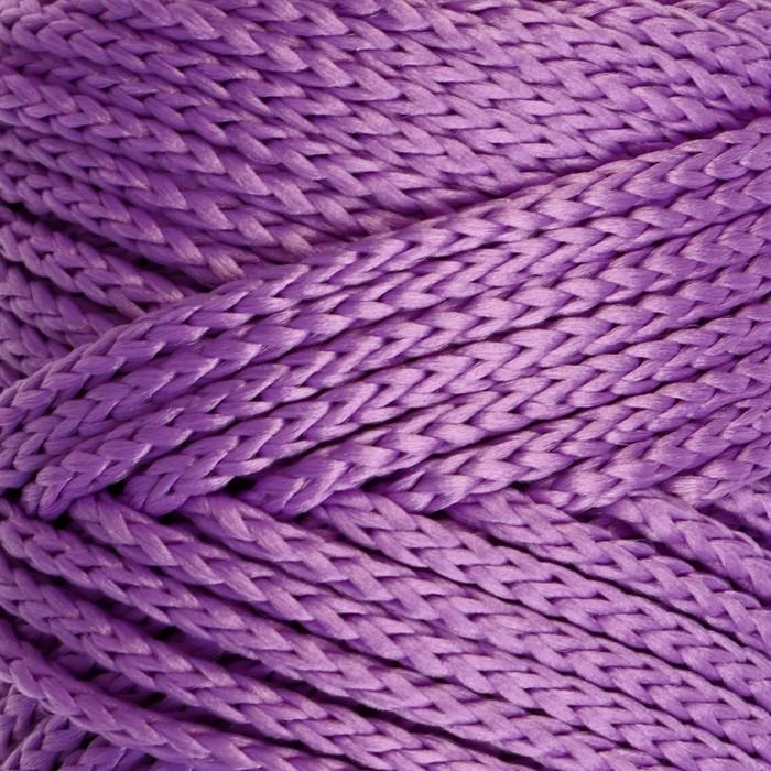 Шнур для вязания без сердечника 100% полиэфир, ширина 3мм 100м/210гр, (92 фиолетовый)