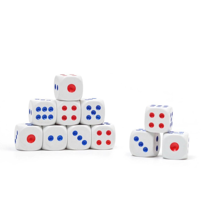 Кости игральные 1,3 × 1,3 см, белые с цветными точками, фасовка 100 шт.