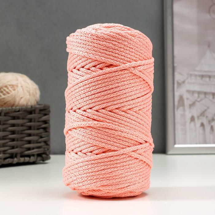 Шнур для вязания с сердечником 100% полиэфир, ширина 5 мм 100м/550гр (134 св. розовый)