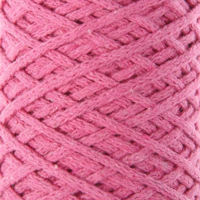 Шнур для вязания без сердечника 100% хлопок, ширина 3мм 100м/200гр (2126 розовый)