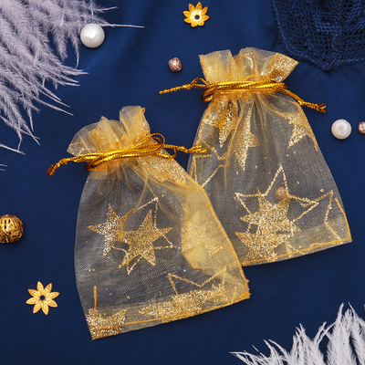 "Pouch gift ""Stars-large"", 7*9, color: Golden"