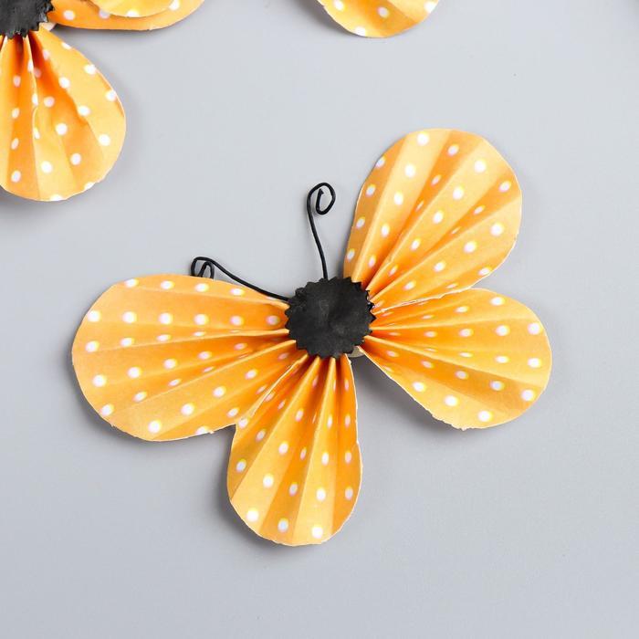 """Декор для творчества """"Жёлто-оранжевые бабочки в горошек"""" набор 3 шт 5х8,5 см - фото 705269"""