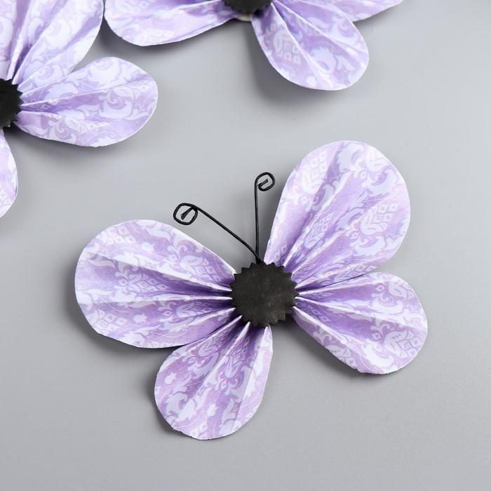 "Декор для творчества ""Сиреневые бабочки"" набор 3 шт 5х8,5 см - фото 410635"