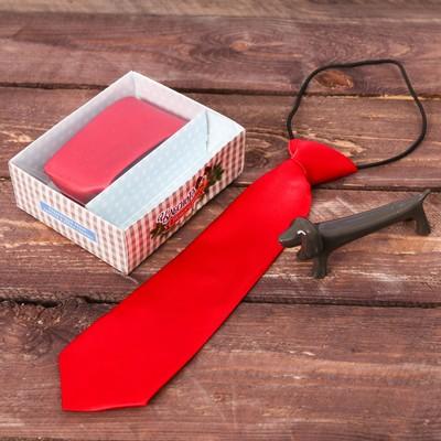 """Подарочный набор: детский галстук и ручка-собака """"Чудесного нового года"""""""