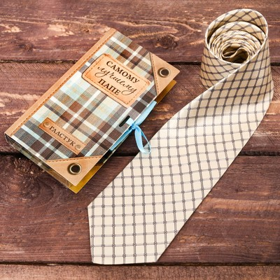 "Tie the card with a satin ribbon ""best dad"""