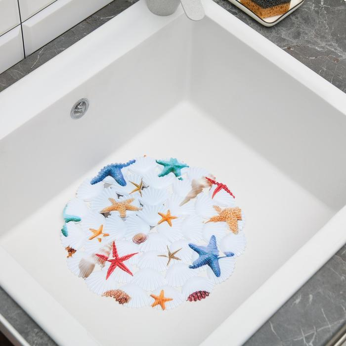 """Коврик в раковину """"Морские звёзды"""" 29x29 см, круглый"""