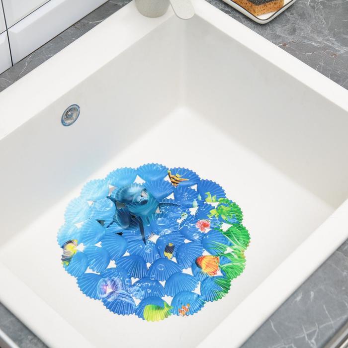 """Коврик в раковину """"Подводный мир"""" 29x29 см, круглый"""