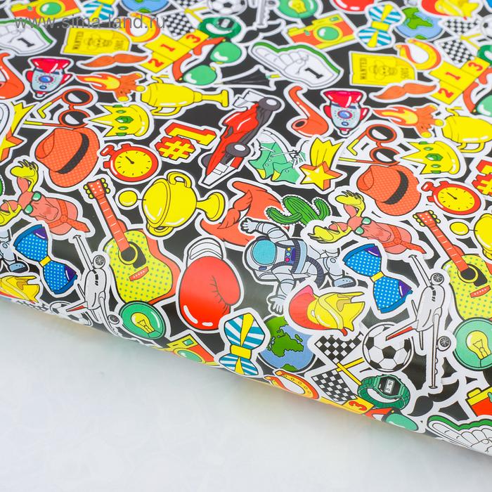 Бумага упаковочная глянцевая «Яркие стикеры», 70 х 100 см