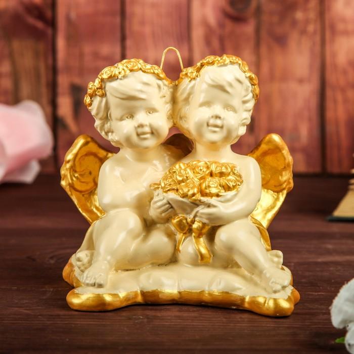 """Сувенир подвесной """"Амуры"""", цвет слоновой кости, декор золотистый, 13 см - фото 727513527"""