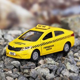 Машина металлическая Kia Rio - такси, открываются двери, багажник, инерция, 12 см