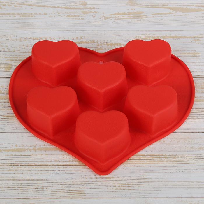 "Форма для выпечки ""Сердце"", 6 ячеек, цвета МИКС"