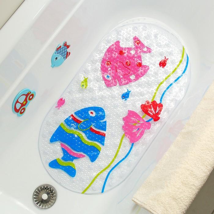 Коврик для ванны «Рыбки», 38×68 см