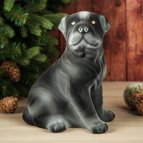 """Копилка """"Собака Шарпей"""", флок, серый цвет, 30 см"""