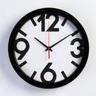 """Часы настенные круглые """"Классика"""", чёрный обод, 4 большие цифры, 28х28 см микс"""