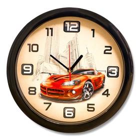 Часы настенные 'Спорткар', чёрный обод, 28х28 см, микс Ош