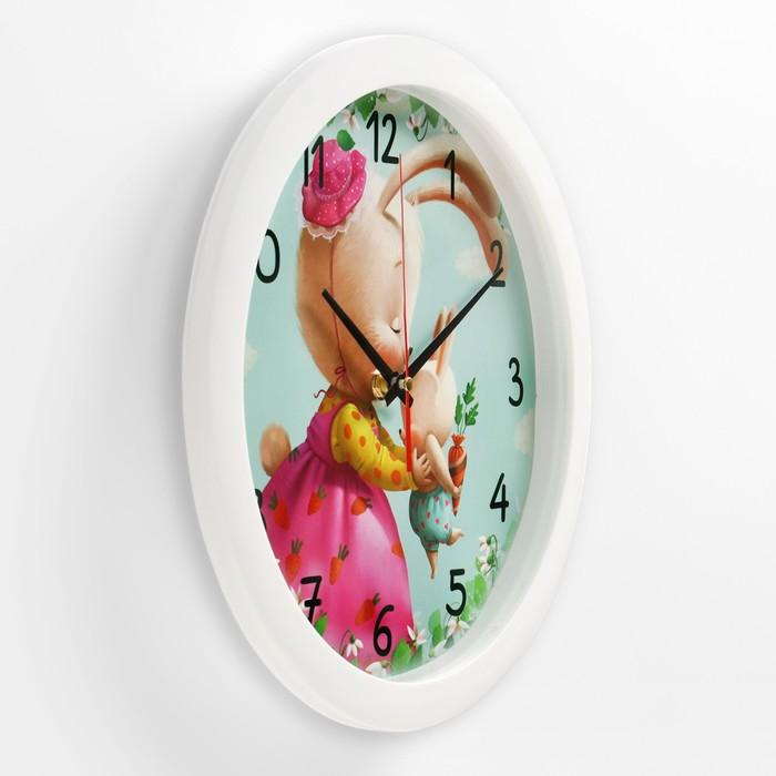"""Часы настенные, серия: Животный мир, """"Зайки"""", белый обод, 28х28  см,"""