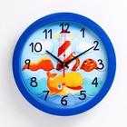 """Часы настенные круглые """"Маяк и морские обитатели"""", синий обод, 28х28 см микс"""