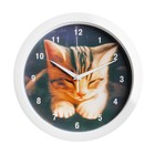 "Часы настенные круглые ""Котёнок"", белый обод, 28х28 см микс"