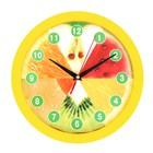 """Часы настенные круглые """"Фрукты"""", жёлтый обод, 28х28 см"""