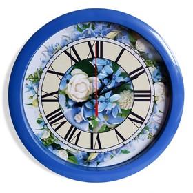 """Часы настенные """"Цветы"""", синий обод, 28х28 см"""