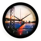 """Часы настенные круглые """"Мост"""", чёрный обод, 28х28 см микс"""