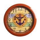 "Часы настенные круглые ""Якорь"", коричневый обод, 28х28 см"