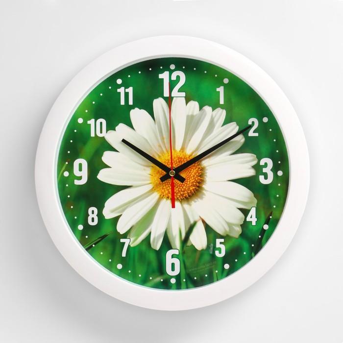 """Часы настенные """"Ромашка"""", белый обод, 28х28 см, микс"""