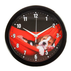"""Часы настенные """"Щеночек"""", чёрный обод, 28х28 см, микс"""