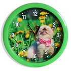 "Часы настенные ""Котёнок"", зелёный обод, 28х28 см, микс"