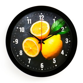 "Часы настенные ""Лимоны"", чёрный обод, 28х28 см, микс"