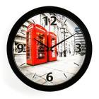 """Часы настенные круглые """"Телефонные будки"""", чёрный обод, 28х28 см"""