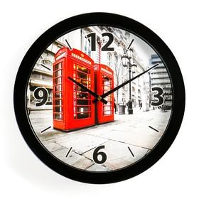 Часы настенные круглые 'Телефонные будки', чёрный обод, 28х28 см Ош