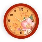 """Часы настенные круглые """"Цветки"""", коричневый обод, 28х28 см"""