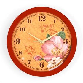"""Часы настенные """"Цветки"""", коричневый обод, 28х28 см"""