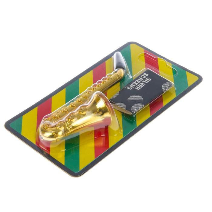 """Трубка оригинальная """"Саксофон"""", 7 сеточек в комплекте 2х3.5 см"""