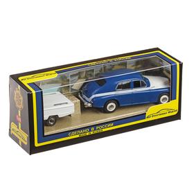 Машинка ГАЗ-М20 «Победа», с прицепом, масштаб 1:43