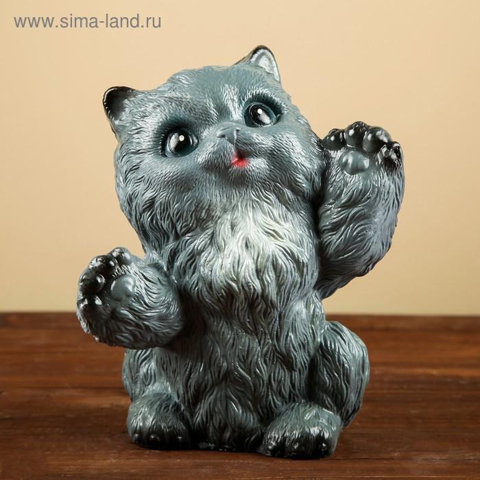 """Копилка """"Пушистый котенок"""" серый 18см"""