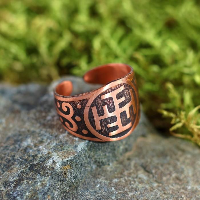 Перстень «Ратиборец», пластинчатый, медь, D=17-23 мм