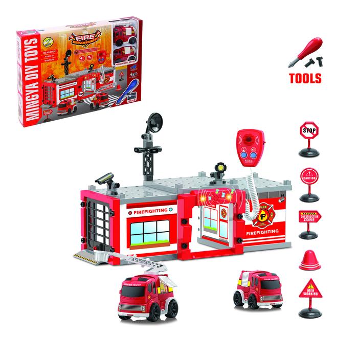 """Парковка - конструктор """"Пожарная станция"""", с отверткой и рацией, 2 машины"""